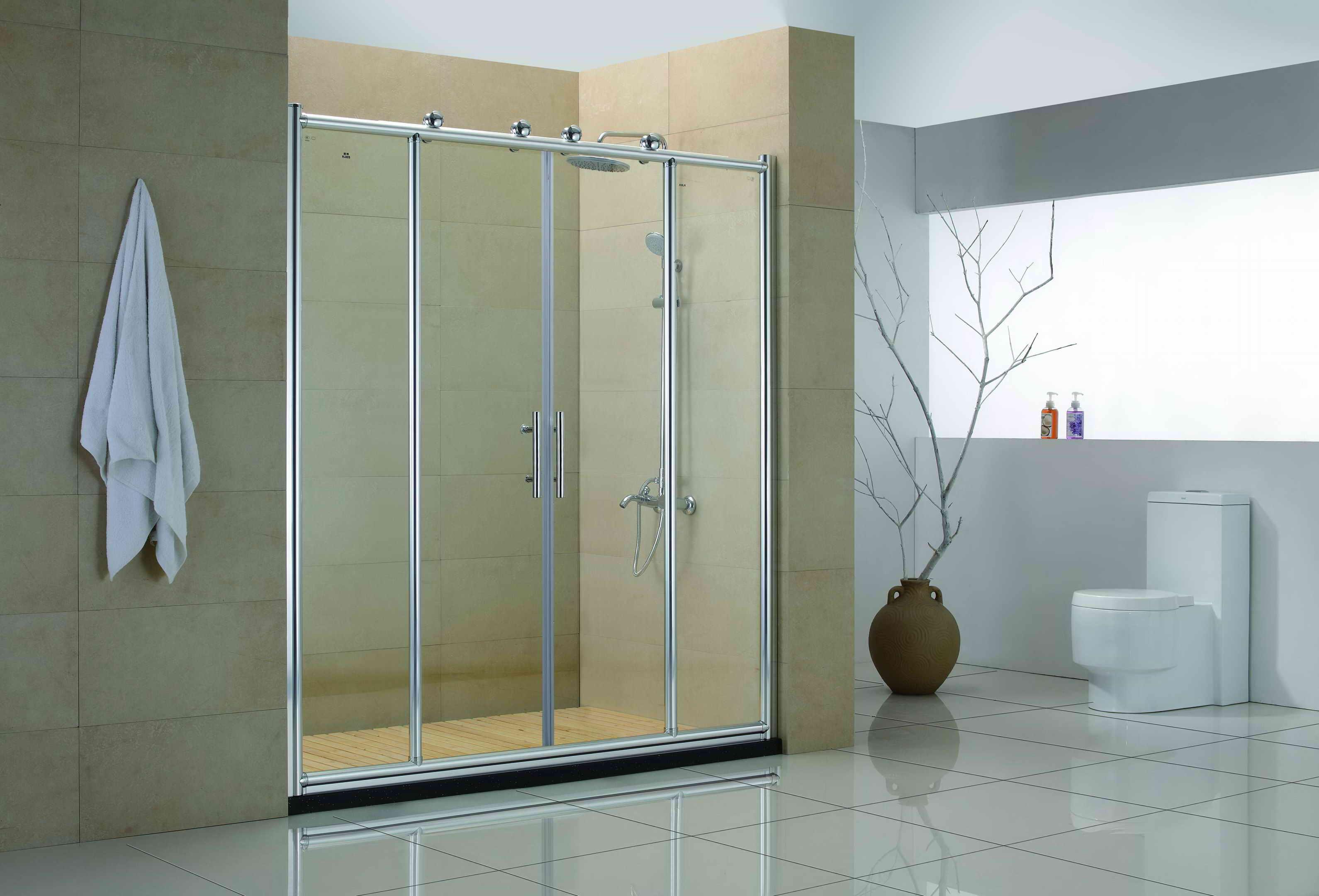 interior-bathroom-modish-chrome-frame-sliding-glass-shower-doors-for-modern-shower-room-ideas-as-well-as-large-bathroom-designs-showy-glass-shower-doors-luxurious-enclosure-design
